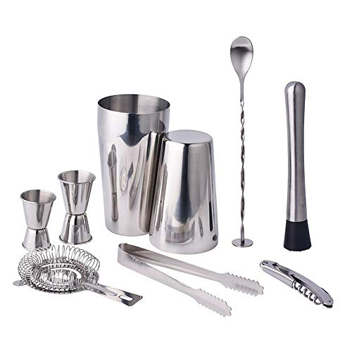 9 Stücke Edelstahl Boston Cocktail Mixer Shaker Set Premium Geschenk Bar Bartender Kit Drink Mixing Tool (Mixing-dosen Bar)