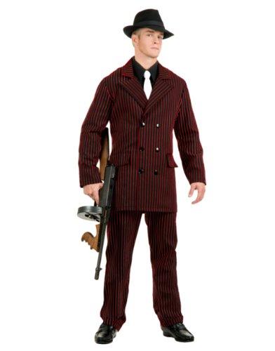 Gangster 6Button zweireihige Anzug (schwarz/rot) Erwachsene (Erwachsenen Gangster Plus Kostüme)