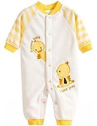 Happy Cherry Unisex Mono Pijama de Forro Polar Pelele Cartoon Ropa de Una Sola Pieza para 0 - 12 Meses Recién Nacidos Bebés Niñas Niños Infantil Jumpsuit Baby Romper