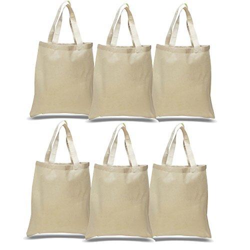 Set von 6-wiederverwendbar 100% Baumwolle Canvas Tote Tasche von bagzdepot | praktisch und umweltfreundlich Lebensmittels & Einkaufstaschen | Budget Friendly, Großhandel, dick Staubbeutel natur - 30 Großhandel Handtaschen