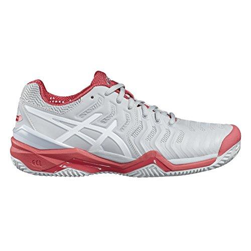Asics Damen Gel-Resolution 7 Clay Tennisschuhe Mehrfarbig (Glacier Grey/white/rouge Red)