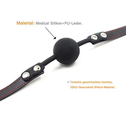 Hisionlee BDSM Mouth Gag Ball Interchange Silikon Ball Gag mit Sperre Schlüssel (Schwarze Kugel-Linie) - 3