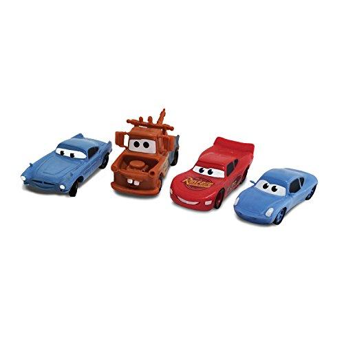 Image of Disney Pixar Cars 4 pack of figurines - Lightning McQueen, Mater, Finn McMissle & Sally