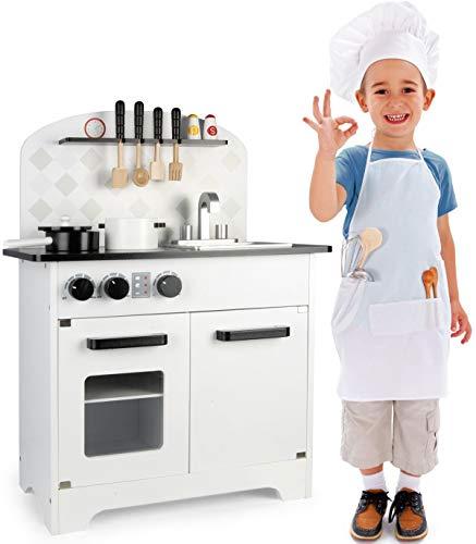Leomark Cuisine en Bois Jeu d'imitation Cuisine avec Accessoires Tableau Cuisinière Éducatif Chef Neuf Enfants Bon Appetit
