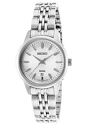 Seiko SUR899P1 - Reloj de cuarzo para mujer, con correa de acero inoxidable, color metalizado