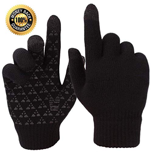 Ruiuzi Winter Touchscreen Warme Handschuhe für Damen Herren Thermo Strick Wolle Gefüttert (Schwarz kein Logo, M)
