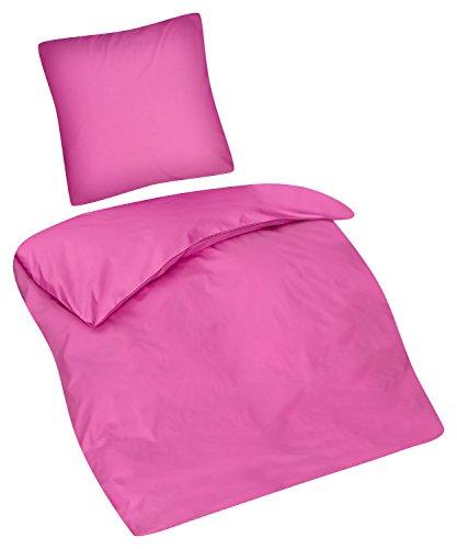 Aminata Kids Kinder-Bettwäsche-Set 135-x-200 cm pink-e rosa Rose EIN-farbig-e Uni-farbig-e Teen-AGER Jugend-liche-r Baumwolle Bett-Bezug Einzel-Bett-Decke Reißverschluss Oeko-Tex 2-teilig (Mädchen Teen Betten)