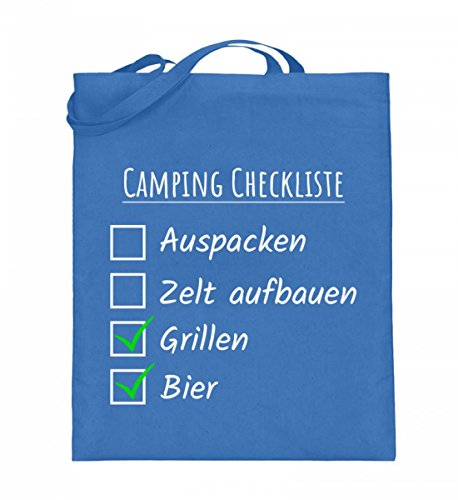 Hochwertiger Jutebeutel (mit langen Henkeln) - Camping Checkliste Blau