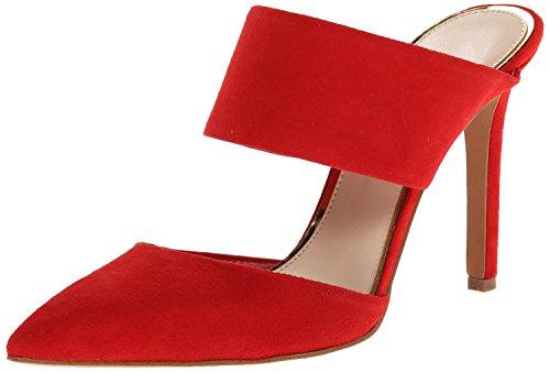 uBeauty Damen Stiletto Slingback Spangen Übergröße Pumps Spitze Zehen Slip On Sandalen Neue Sexy Schuhe Rot Nubukleder