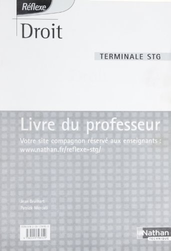 Droit Terminale STG : Livre du professeur