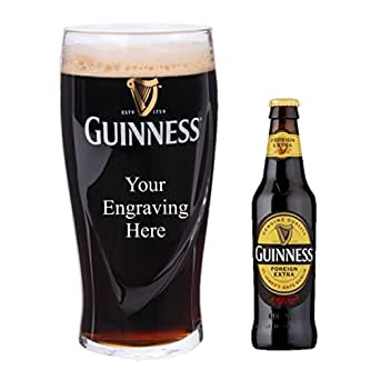 Personalised Engraved Guinness Half Pint glass, with 330 ml Bottle of Guinness Foreign Extra in Silk Lined Gift box