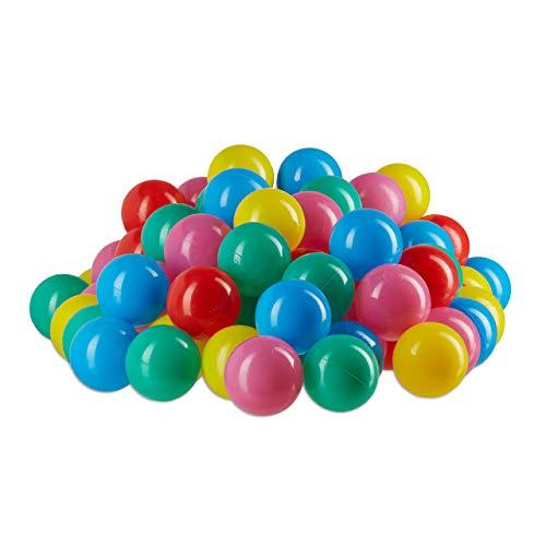 Relaxdays 10022476_776 palline per piscina materiale non nocivo, 5 cm, set da 100 pezzi, palline morbide da 6 mesi in su colorate