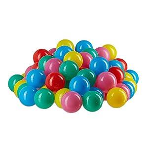 Relaxdays Bolas Piscina Infantil de Colores, Plástico, Multicolor, 5 cm, 100 Unidades