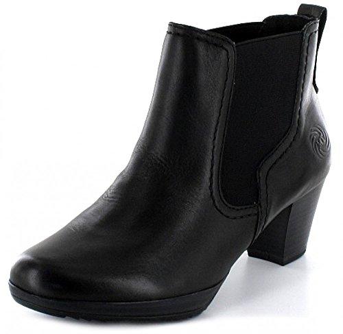 MARCO TOZZI Damen Stiefel Stiefelette Boot im Chelsea Stil schwarz mit Blockabsatz Schwarz