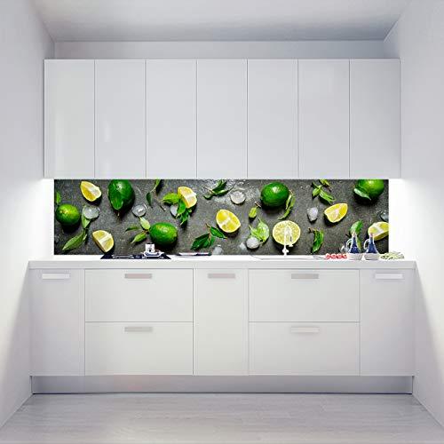 Küchenrückwand Acrylglas als Einzelplatte oder Plattenset für Eck und U-Form Küchen Zuschnitt auf Maß - Motiv Chilled Limes