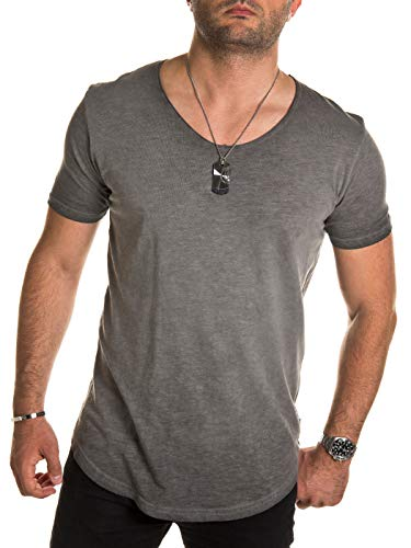 PITTMAN Herren Tshirt Vintage Maxi lang anthrazit einfarbige Fitness Herrenshirt Streetwear Männer Sommer T-Shirts, Grau (Dark Gull Gray 180403), L