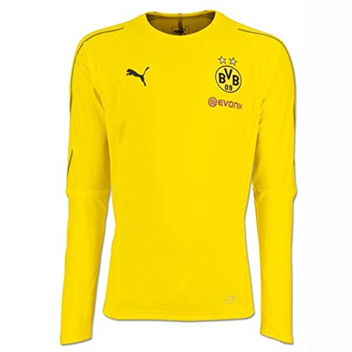 Puma BVB–LS with Sponsor Logo Training Jersey, Hombre, 753361, Cyber Yellow, Small