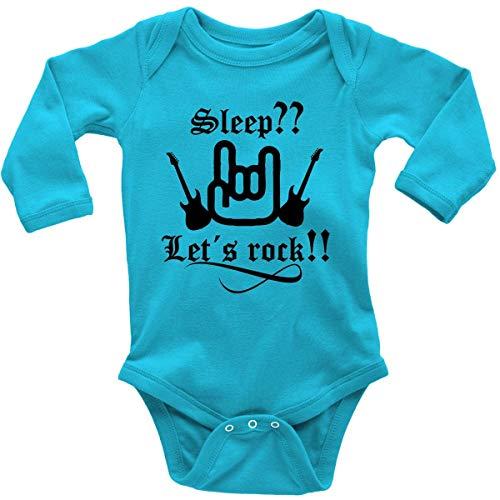 Mikalino Babybody mit Spruch für Jungen Mädchen Unisex Langarm Sleep let s rock | handbedruckt in Deutschland | Handmade with love, Farbe:atoll, Grösse:56