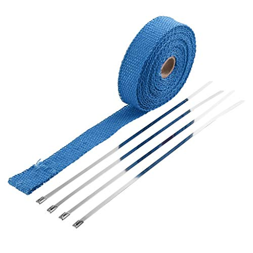 wyxhkj Neue Hitzeschutzband Heiße 2,5 cm 5 Mt Rolle Fiberglas Auspuffrohr Rohr Wrap Tape + 4 Krawatten Kit (Bule)