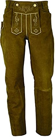 Lederhose lang Herren/Damen- Trachten Lederhose lang in echt Leder festem Nubuk, Bayerische Lederhose in Camel (36, Hellbraun)