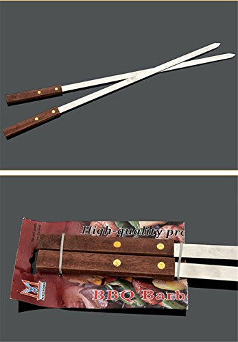Holzsammlung® 2 Pcs Stainless Steel Barbecue Skewers Set – Wide BBQ Kabob Grilling Sticks with Wooden Handle to Protect Your Hands