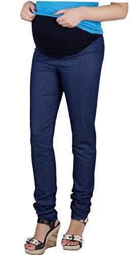 Mija–Embarazo–Pantalones de tubo con extra vientre de panel Denim Pantalones premamá 3015 Dunkeblau Denim 42