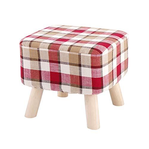 Big Square Foot Hocker Hocker Ottomane Textil Leinen Pouffe Gepolstertes Sofa Abnehmbarer und waschbarer Bezug 100kg-Tragfähigkeit (40 × 35cm) 4 Beine Rot Kariert