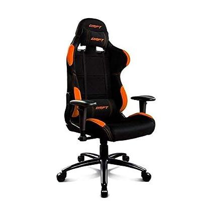 Drift DR100BO – Silla Gaming Profesional, (Tela Alta Calidad, Ergonómica), Color Negro/Naranja