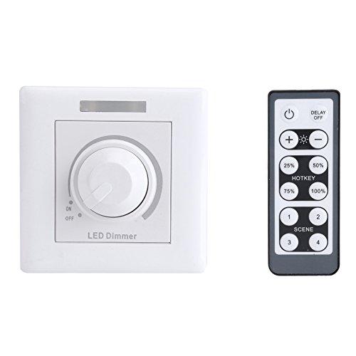 Fdit LED Dimmer mit IR Fernbedienung Einstellbare 12 Tasten Fernbedienung für Home Cabinet Panel Light 200W(220v)