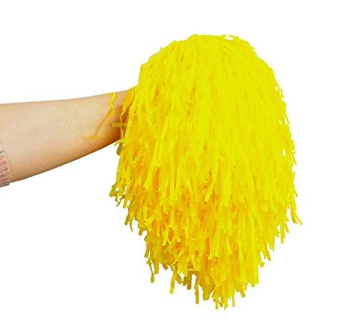 Iso Trade Cheerleader Pompons Set 2Stück Farbauswahl Tanzwedel mit Griff Kinder Erwachsene 402, Farbe:Gelb