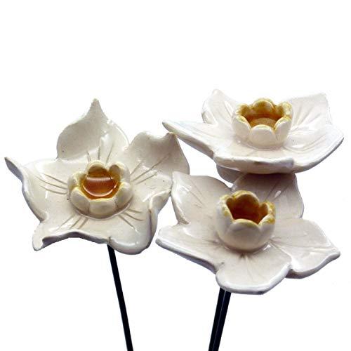 Pommerntraum | 3 Grosse Narzissen aus Keramik ❀❀ Keramikblumen ❀❀ Keramikblüten ❀❀ Osterglocken
