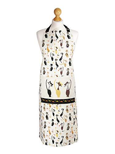 Delantal de Cocina para Mujer Ajustable con Bolsillo, con Diseño Elegante de Gato, Regalo para las Mujeres, Cocineros y Amantes de los Gatos
