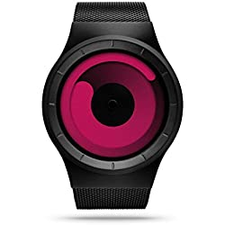 ZIIIRO Mercury black - magenta Watch Unisex Uhr Stahlmaschenband / Designed in Germany