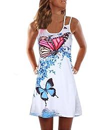 kingko Damen Casual Sommerkleid Lose T-Shirt Kleid Knielang Kurz Partykleid  Sommer Strandkleid Minikleid A 71260d5633