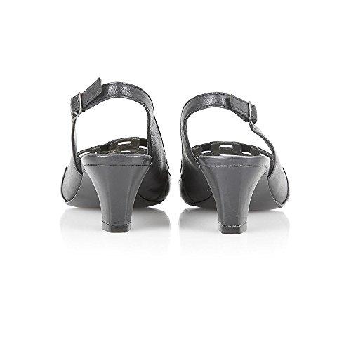 Lotus Damen 50505Edna transparent Mesh sling-back Peep Toe Sandale Schwarz