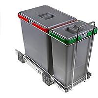 ELLETIPI Ecofil PF01 34 A1 - Cubo de Basura de Reciclaje con Base diferenciada, extraíble, de plástico y Metal, Gris, 23 x 45 x 36 cm