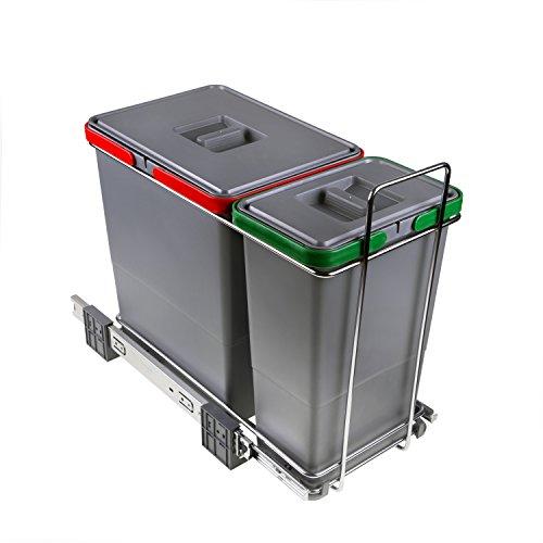 ELLETIPI Ecofil PF01 34 A1 - Cubo de Basura de Reciclaje con Base diferenciada, extraíble, de plástico...