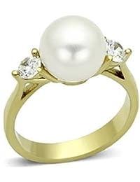 Yourjewellerybox 1W054 CRYSTAL CREAM PEARL BAND RING 18CT YELLOW STACKING WOMENS 3PCS Moo2XWYiQ3