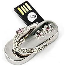USB Stick Flip Flop 16 GB Badelatsche Silver Strass