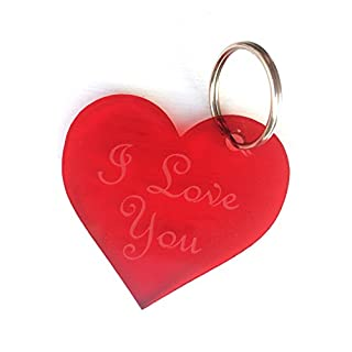 Origin - Valentines Anniversary, Engraved with 'I Love You', Red Heart Keyring - Gift or present for him or her - Keepsake for a loved one - 6x6cm