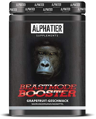 ALPHATIER BEASTMODE BOOSTER XXL - Pre-Workout Shake hochdosiert - Koffein, Citrullin, L-Arginin, Creatin, ß-Alanin - Fokus + Pump beim Training - 500g Grapefruit-Geschmack