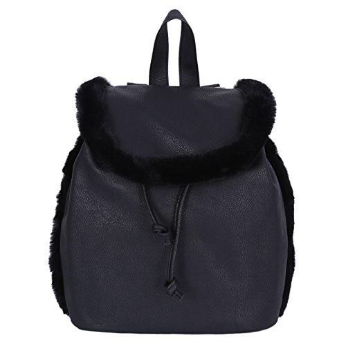Black, Faux Leather, Faux-Fur Details, Backpack, Knapsack, Rucksack PRIMARK