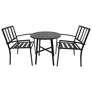 Salon de jardin 2 pers 3 pi ces ensemble bistrot style contemporain 2 fauteuils table ronde - Salon de jardin style bistrot ...