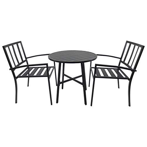 Outsunny 3-teilige Essgruppe Sitzgruppe Esstisch-Set rund Tisch Garten Wohnzimmer Terrasse Metall Schwarz mit 1 Tisch + 2 Stühlen (Tisch Hoher Stuhl Und Ess-sets)