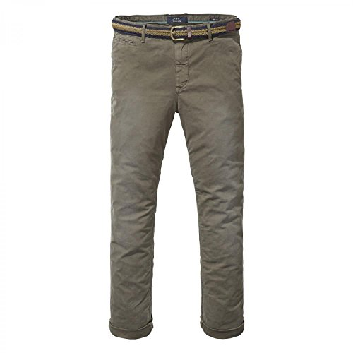 Scotch & Soda Herren Hose Warren-Belted Chinos | Relaxed Slim Fit Army
