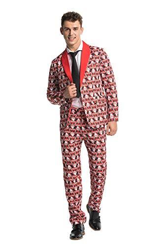 Einfache Lustige Kostüm Männer - Modisch Herren Party Anzug Weihnachten Party Suits Kostüme Festliche Anzüge in Normalem Schnitt mit lustigen Mustern inkl Jackett Hose Krawatte von You Look Ugly Today
