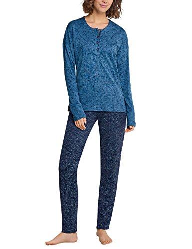 Schiesser Damen Zweiteiliger Schlafanzug Anzug lang, Blau (Petrol 811), ()