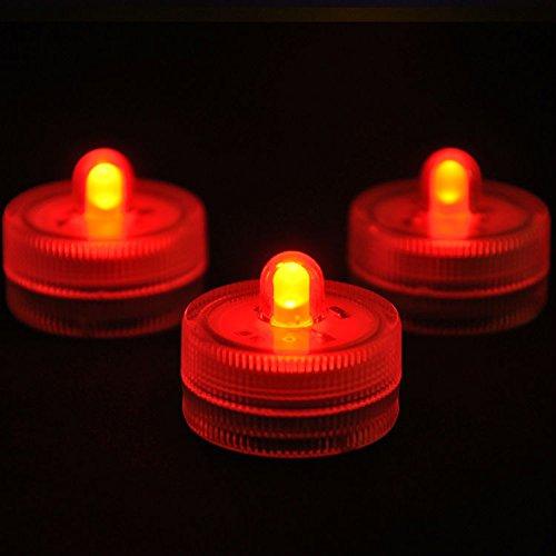 MuLucky 12 pz impermeabile LED rotonda batteria alimentati molti colori mini fiore candele Underwater Lights per i vasi centrotavola decorazione della festa nuziale (Rosso)