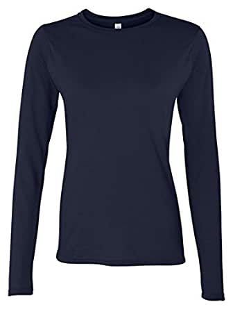 New Ladies Plain Stretch Fit Long Sleeve Womens T-Shirt Round Neck Basic Top Navy Blue Size 8 - 10