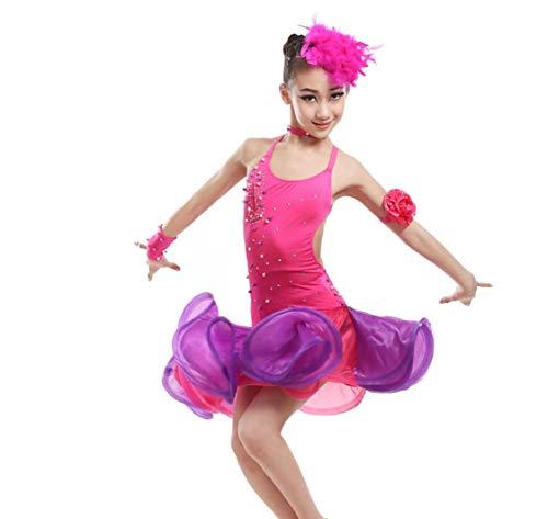 SMACB Mädchen Latin Dance Kostüme Tanzkostüm Wettbewerb Bühnenkostüme (Rose Rot ()